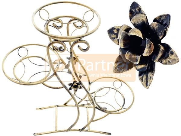 Kwietnik Metalowy Na Kwiaty 94cm 3 Donice Z Kwiatem