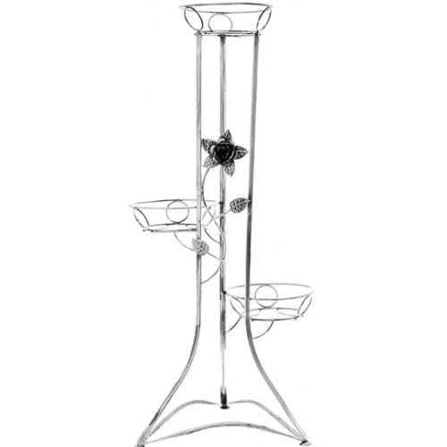 Kwietnik Metalowy Na Kwiaty 103cm 3 Donice Z Kwiatem Srebrny